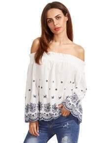 Bordado de peregrino recorte el hombro de la blusa