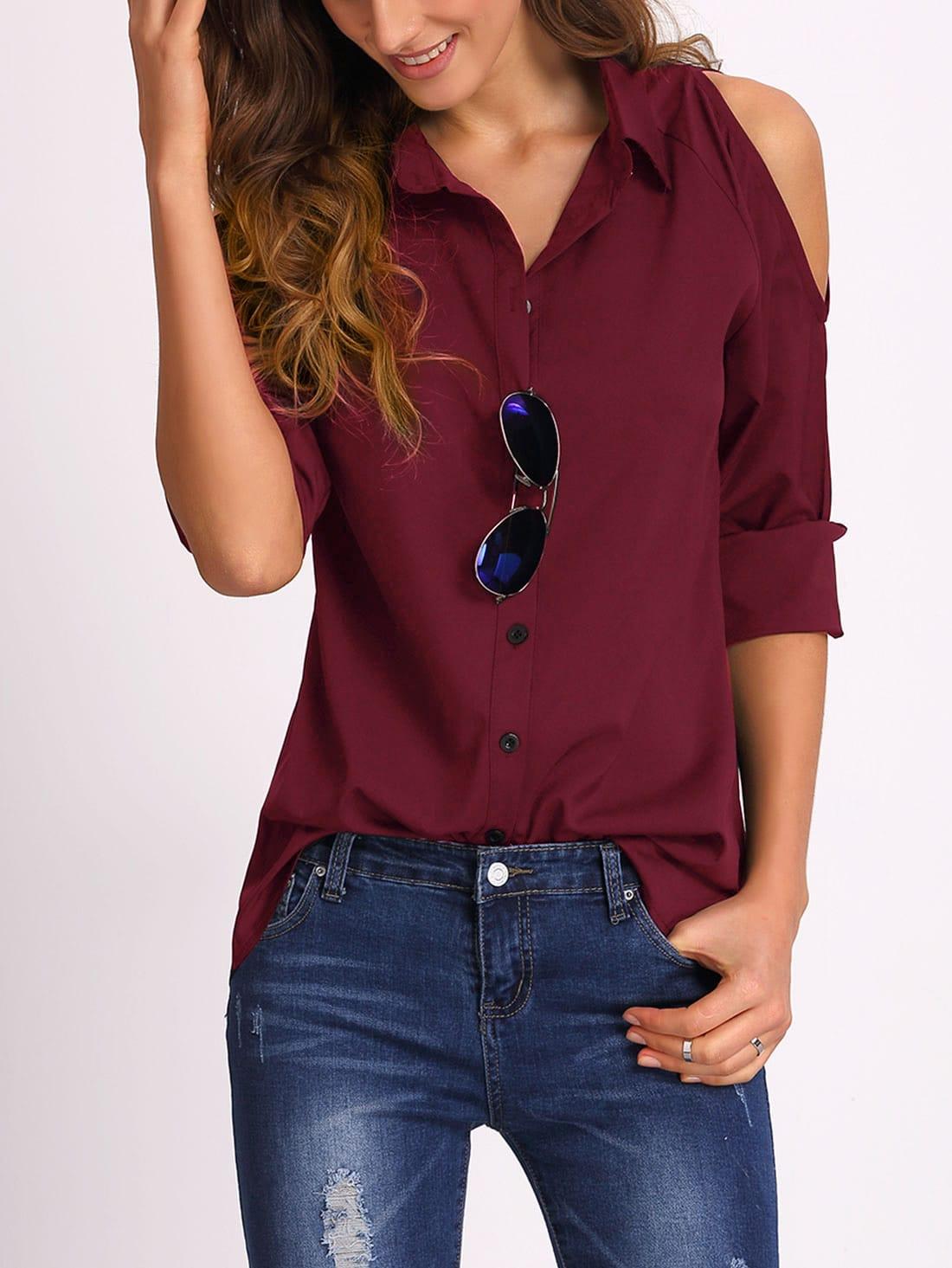Burgundy Open Shoulder Blouse