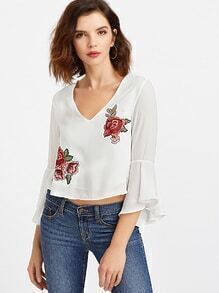 White Floral Embroidery Cutout Back Crop Top