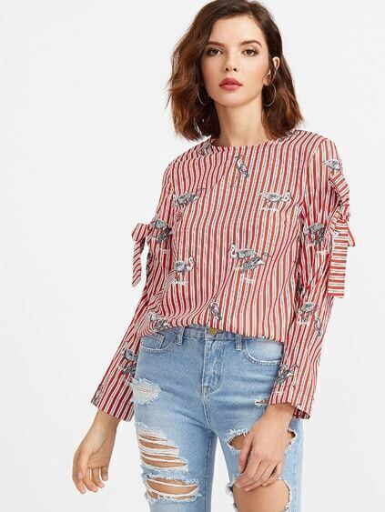 Red Striped Crane Print Bow Embellished Blouse
