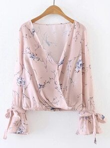 Pink Floral Print V Neck Wrap Blouse With Bow