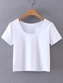 White Short Sleeve Casual Crop Top