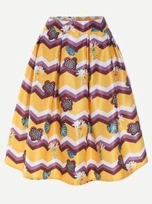 Falda plisada con estampado de chevron y flores