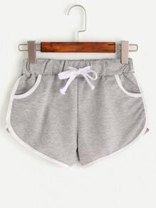 Heather Grey Contrast Trim Drawstring Shorts