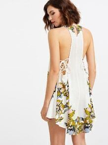 White Floral Print Lace Up Back Dip Hem Dress
