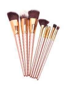 Ensemble de brosses à maquillage en or rose