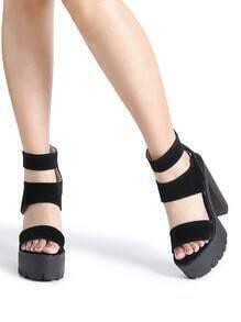 Sandalias con plataforma y tiras - negro