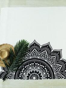 Black And White Half Floral Print Beach Blanket