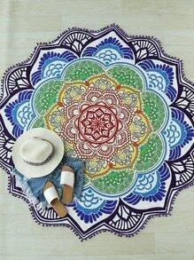 Manta playera en forma de lotus ribete con flecos - multicolor