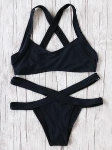 Black Criss Cross Detail Sexy Bikini Set
