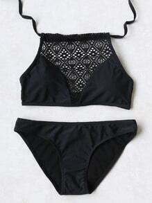 Noir Hollow Out Détail Halter Bikini Set