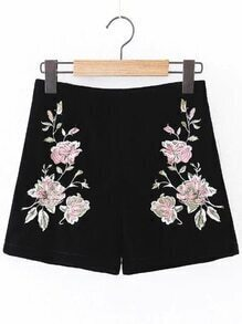 Black Flower Embroidered Zipper Side Velvet Shorts
