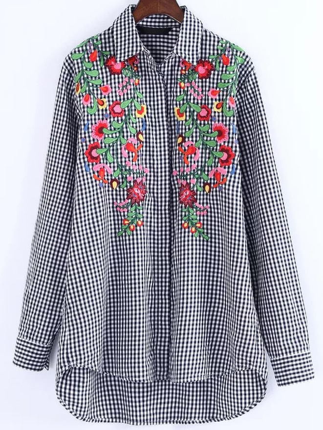 Checkered Print High-Low-Hem Embroidered  Shirt  Dress