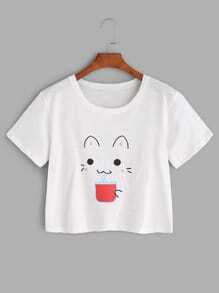 White Cat Print Crop T-shirt
