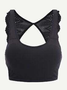 Top corto espalda con abertura con encaje en contraste - negro