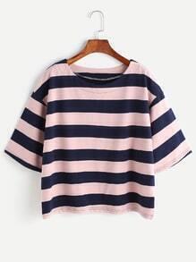 Contrast Striped Drop Shoulder T-shirt