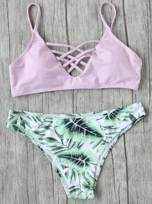 Pink Leaf Print Criss Cross Mix & Match Bikini Set