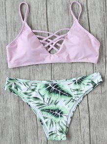 Set bikini cruzado con estampado de hoja mix & match - rosa