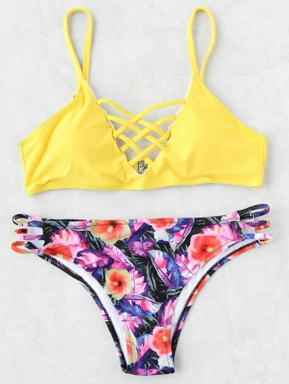 Yellow Floral Print Criss Cross Mix & Match Bikini Set