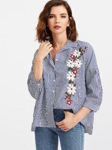 Blaue vertikale gestreifte Blumenstickerei-Bluse