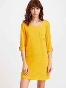 Yellow 3/4 sleeve Roll Cuff Dress With Pocket