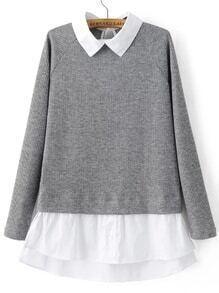 Suéter de manga raglán cuello en contraste - gris