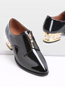 Black Zipper Design en cuir verni Chaussures à talons
