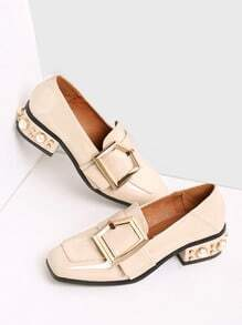 Beige Buckle Design Square Toe Shoes