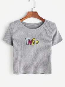 Shirt avec lettre de patch brodé côtelé - gris