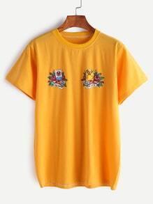 Shirt avec la bande dessinée imprimée - jaune