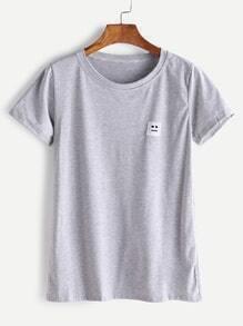Shirt avec le patch emoji - gris