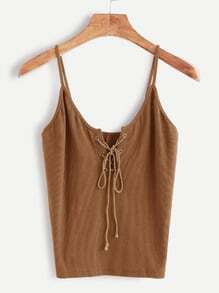 Khaki Lace Up Front Cami Top