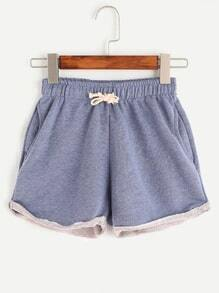 Blue Rolled Drawstring Waist Shorts