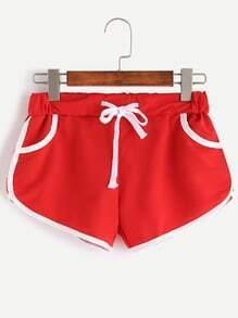 Red Contrast Trim Drawstring Shorts
