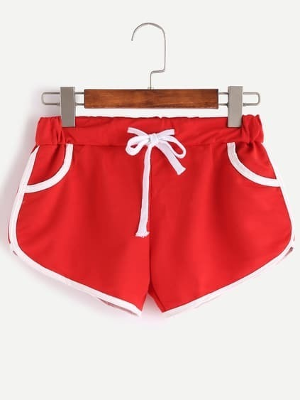 Red Contrast Trim Drawstring Shorts