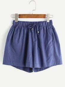 Shorts cintura con cordón casual - marino