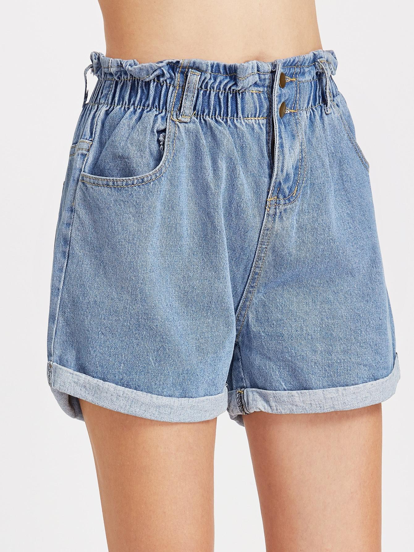 Blue Shirred Elastic Waist Rolled Hem Denim Shorts