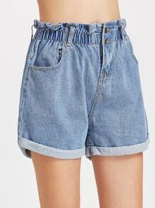 Blue Shirred Elastic Waist Rolled Hem Denim Shorts