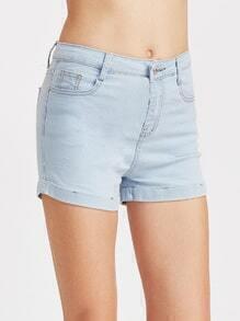 Pale Blue Skinny Denim Shorts