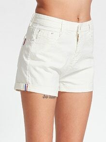 Gerade Jeans-Shorts - Weiss