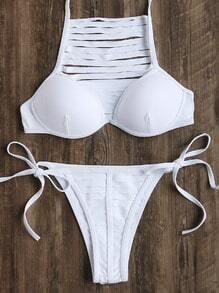 Set bikini con aberturas y cordón lateral - blanco