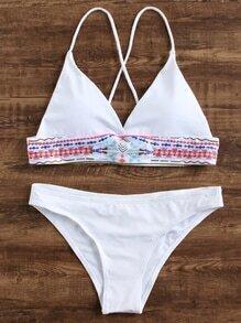 Weiß Geometrischer Druck Dreieck Bikini Set