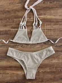 Set bikini triángulo con tiras - kaki