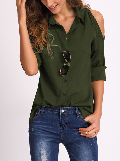 Army Green Open Shoulder Blouse