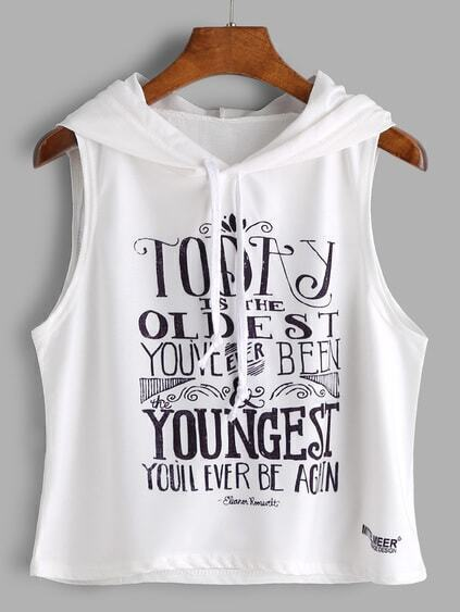 Weißer Slogan-Druck Sleeveless Hooded Top