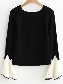 Buy Black Contrast Cuff Bell Sleeve Knitwear