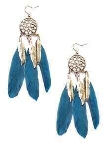 Pendientes vintage con pluma - azul