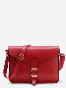 Bolso messenger  con solapa y diseño de hebilla - rojo