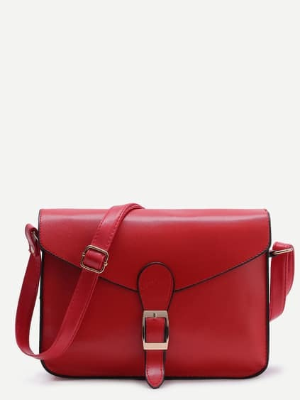 Red Buckle Design Flap Messenger Bag