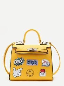 Yellow Letter Pattern PU Satchel Bag